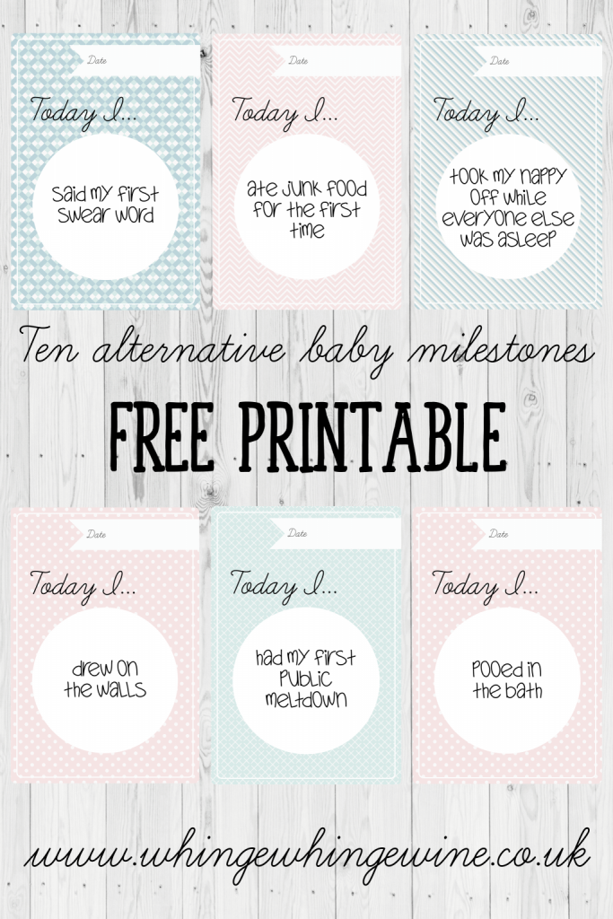 Free printable funny & slightly inappropriate baby milestone cards! Ten alternative and funny milestone cards for babies - send to your pregnant and new mom friends so they can celebrate their baby's more inappropriate milestones! #baby #newborn #pregnant #newmom #momlife #moms #parenting #parents #printables #milestones #free #momhumor #parentinghumor #mumlife