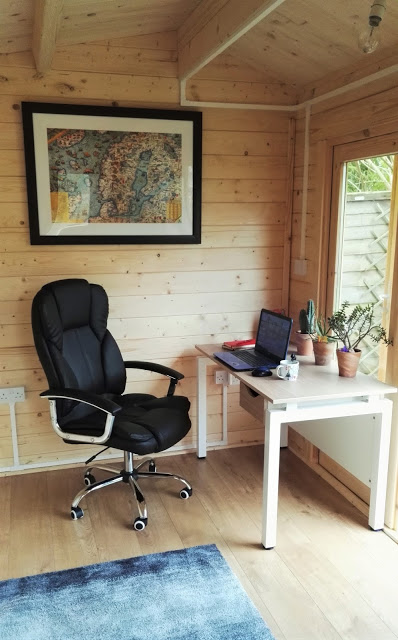 Garden Office: The desk at the bottom of the garden (our log cabin) from Johnson's Garden Buildings is finally here - have a tour inside