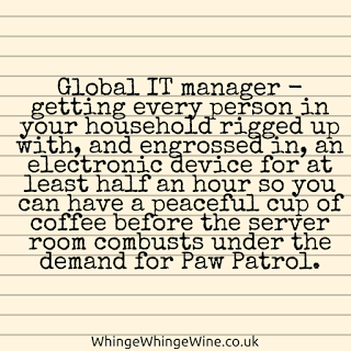 Global IT manager - getting every person in your household rigged up with, and engrossed in, an electronic device for at least half an hour so you can have a peaceful cup of coffee before the server room combusts under the demand for Paw Patrol.