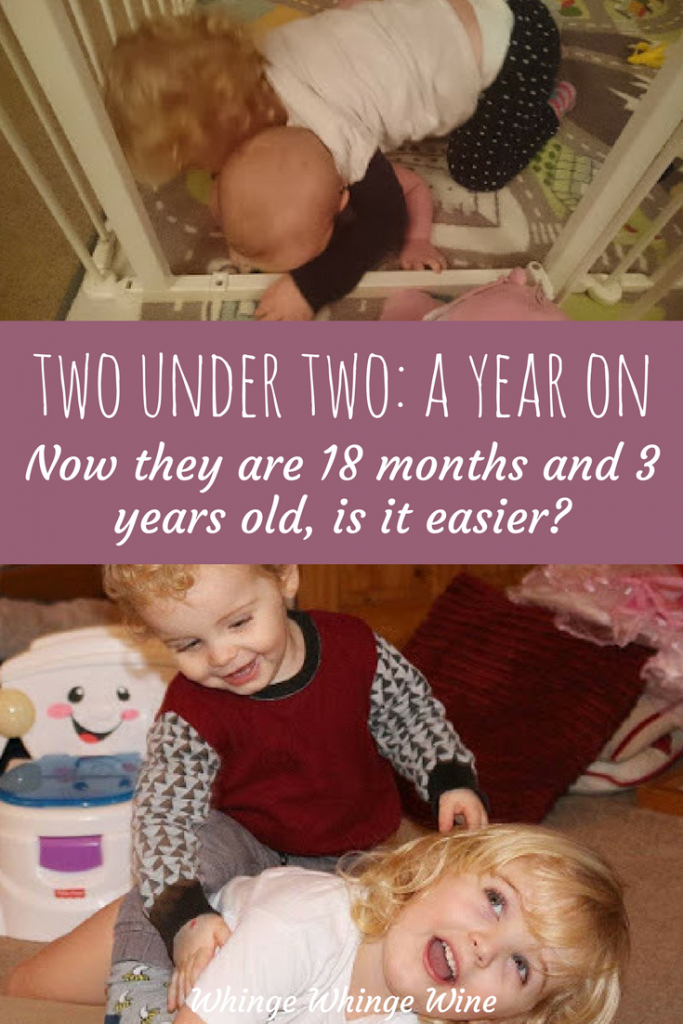 Two small ones, one year on How times have changed. Comparing having a baby and a toddler to having a toddler and a preschooler. Has a small age gap got easier? #twoundertwo #momlife #mumlife #toddlers #babies #siblings