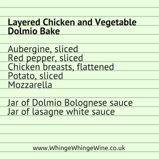 recipe for layered chicken and vegetable bake with dolmio