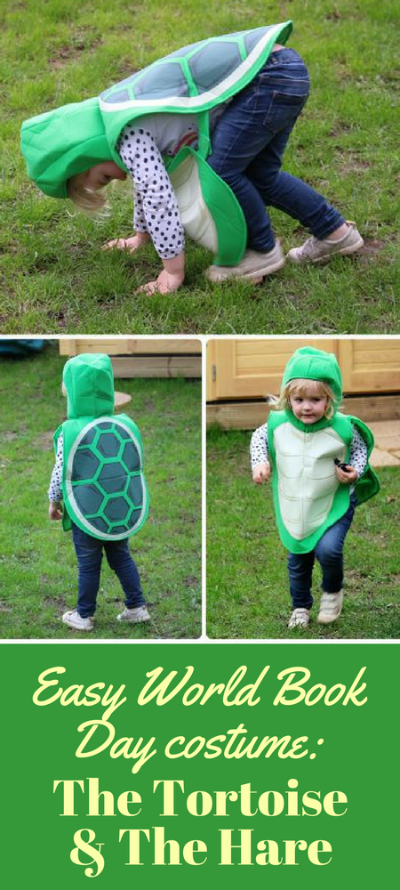 Easy World Book Day dressing up costumer ideas: The Tortoise and The Hare (costume from Pretend to Bee). #WorldBookDay #KidsCostumes #Costumes