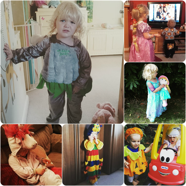 All of the dressing up clothes a three year old could want
