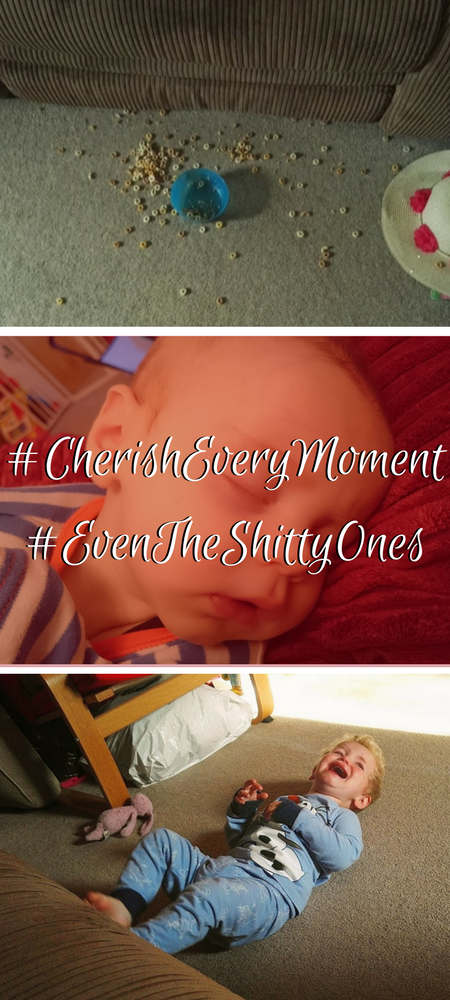 Cherish Every Moment - even the shitty ones? Why I don't #cherisheverymoment and I don't feel #soblessed and I do not care. The truth about parenting is that mothering is hard and some days are crap. #momlife #mumlife #parenting #parentingtruth #treasureeverymoment