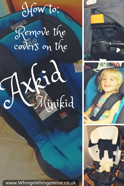 A pictorial how-to showing you how to get off, change, remove the car seat covers from an Axkid Minikid carseat