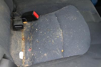 Car seat full of crud