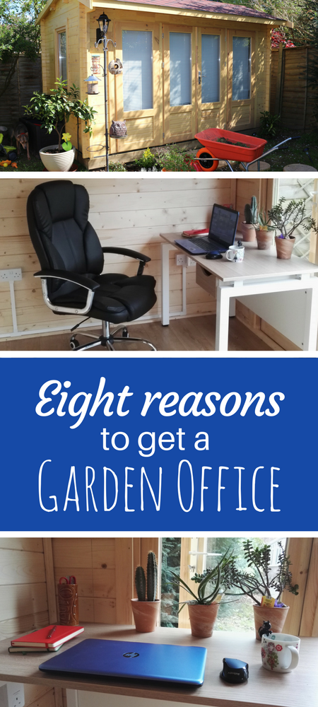 Are you considering getting a log cabin style garden office? Here are eight reasons that you should definitely go for it and get a new workspace in your garden. Ours is a log cabin style from Johnson's Garden Buildings. #homeoffice #gardenoffice