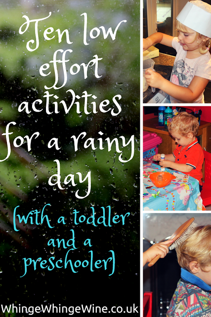 Rainy day? Here are some low-effort activities you can do at home to keep your toddler and preschooler amused and from taking chunks out of each other! Things to do indoors with a toddler and a preschooler.
