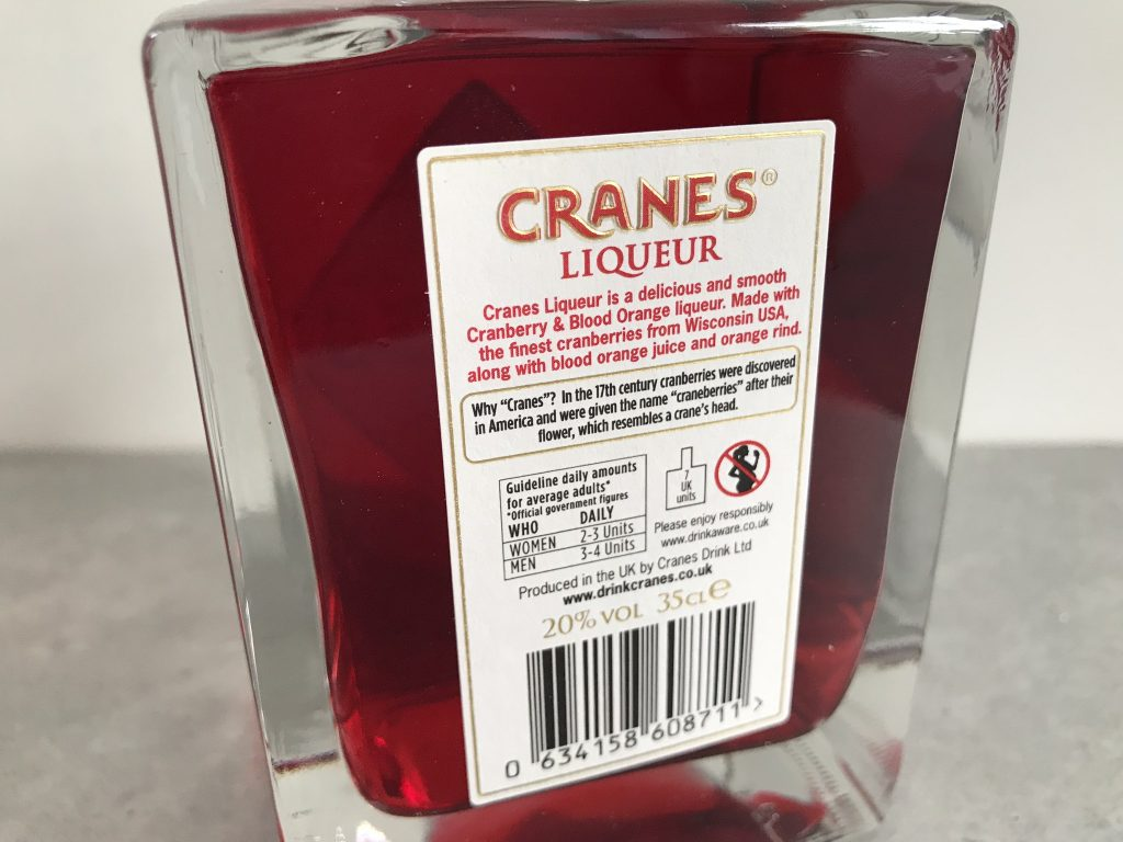 Cranes Cranberry & Blood Orange liqueur review