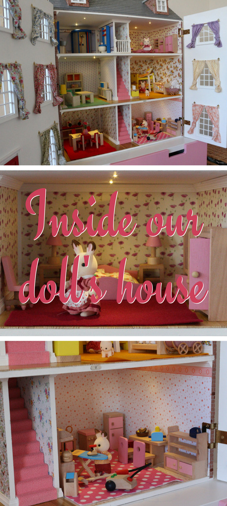 Inside our doll's house - my daughter's fourth birthday present from her grandma and grandpa was a hand built dolls house and here is a peek inside #dolls #dollshouse #dollhouse #sylvnianfamilies #fourthbirthdaypresents