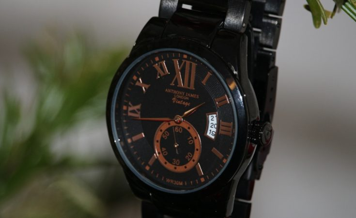 Anthony James London Vintage Watch Black & Rose Gold (42)
