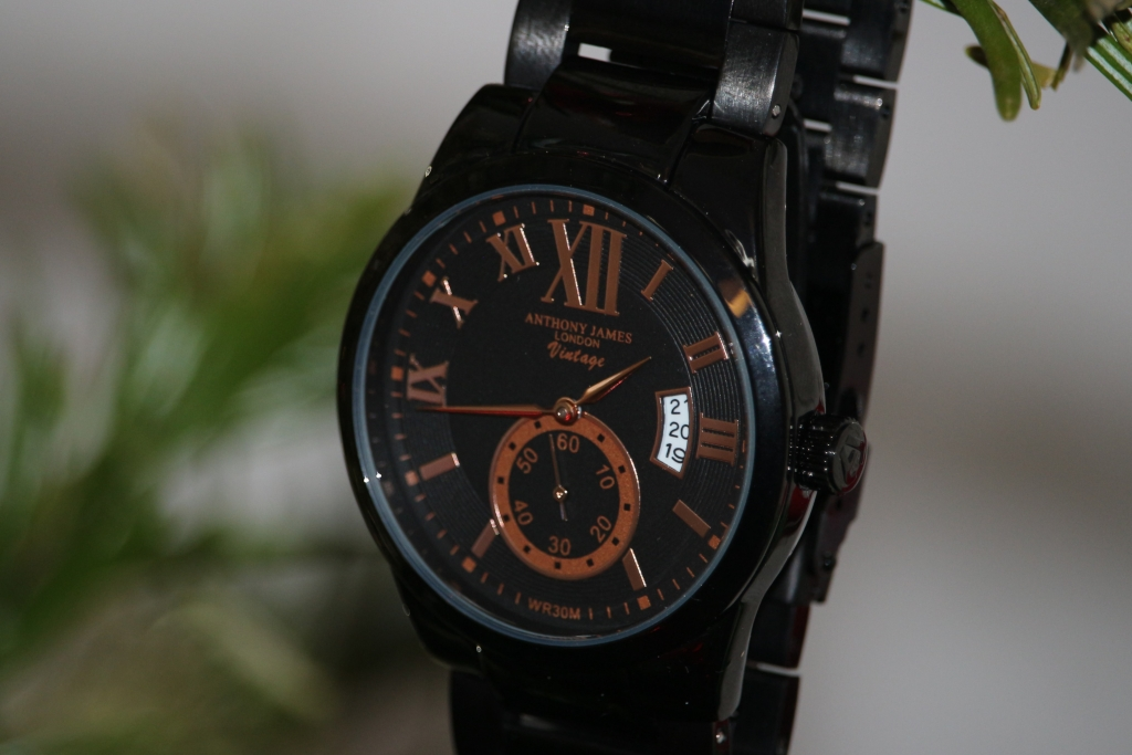Anthony James London Vintage Watch Black & Rose Gold (42)