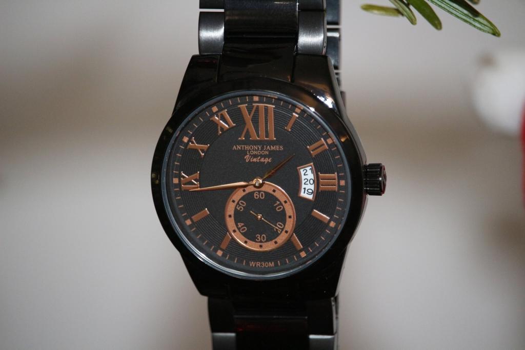 Anthony James London Vintage Watch Black & Rose Gold front