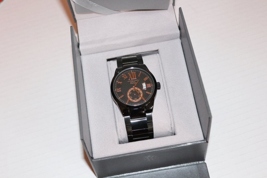 Anthony James London Vintage Watch Black & Rose Gold in box