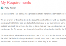 potty trainer wanted - slightly nuts post on childcare.co.uk