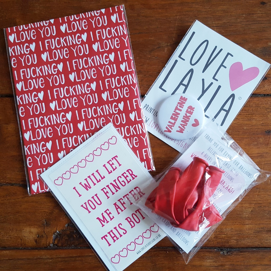 Love Layla Valentine's Day Wrapping paper, badge, wine bottle label and balloons