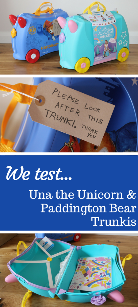 Paddington Bear Trunki and Una the Unicorn Trunki review - children's ride on suitcases #kids #toys #familytravel
