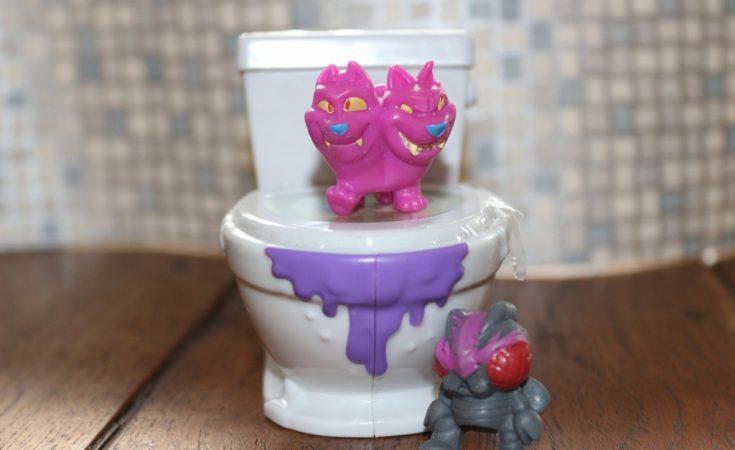 Flush force Flushies collectibles in toilet