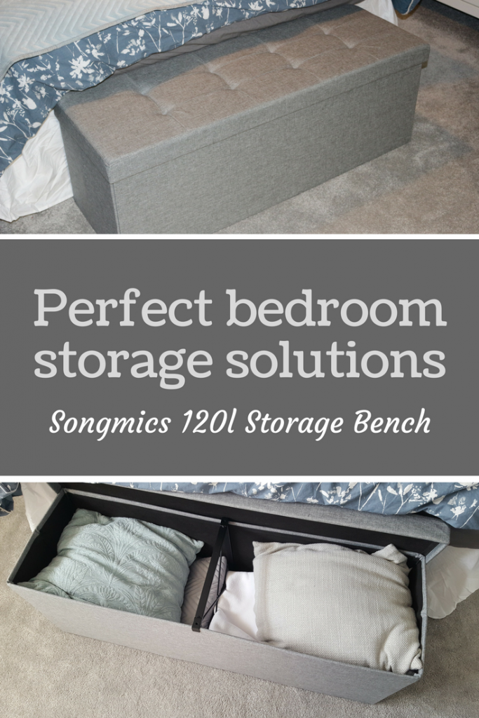 Bedroom storage solution Songmics storage bench ottoman in grey - If you're looking for some storage for your bedroom or maybe new toy storage then look at the Songmics 120 litre storage bench/ottoman! We got a grey Songmics storage bench for review.