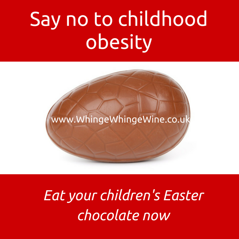 Easter Egg Meme: Say no to childhood obesity, eat you're children's Easter chocolate now meme