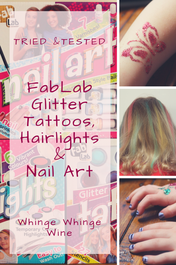 Interplay FabLab Glitter Tattoo, Hairlights and Nail Art kits review If your children love everything hair and make up then they will love these new kits from Interplay's FabLab! Let your child colour their hair with child-friendly hair chalks, have a glitter tattoo or paint their nails! #kidsactivities #forkids #toyreviews #stuffforkids