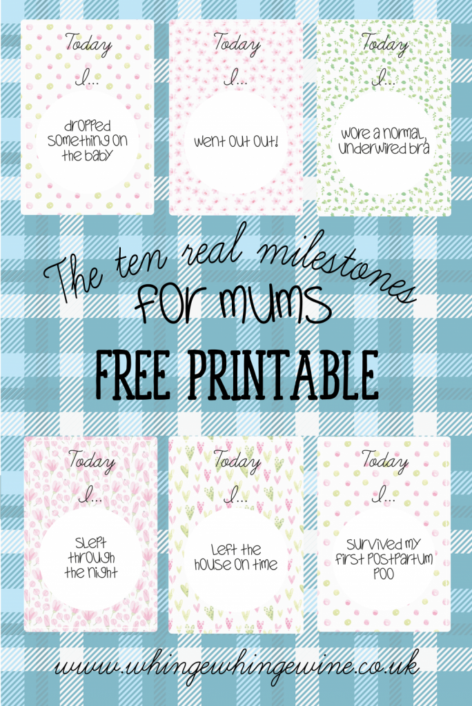Milestone cards for new mums - FREE printable funny new mom milestone cards! Perfect for a pregnant friend as long as they have a good sense of humor! #momlife #momhumor #parenting #babies #baby #pregnancy #newmom #newmum