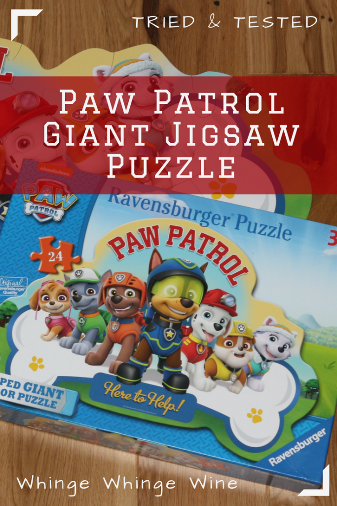 Paw Patrol 24-piece Shaped Giant Floor Jigsaw Puzzle (age 3+) review: A new shaped Paw Patrol puzzle for young children from Ravensburger #puzzle #jigsaws #pawpatrol #toys #prescoolertoys #toyreviews