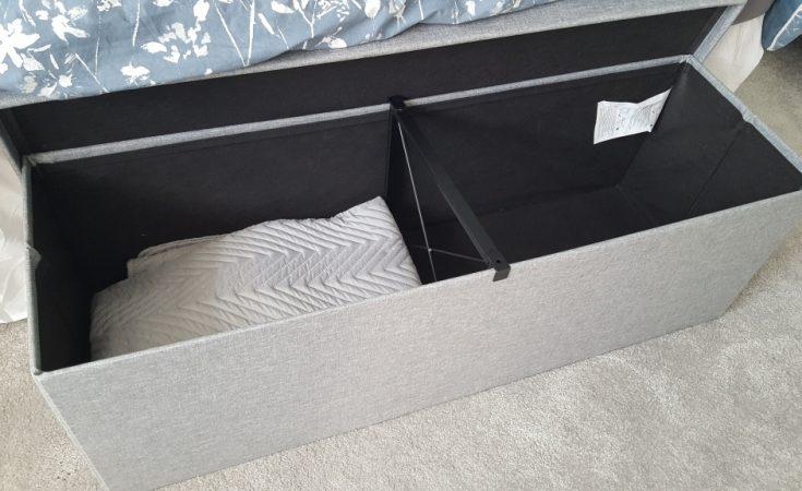 Songmics storage bench ottoman - grey bedroom toy storage (25)