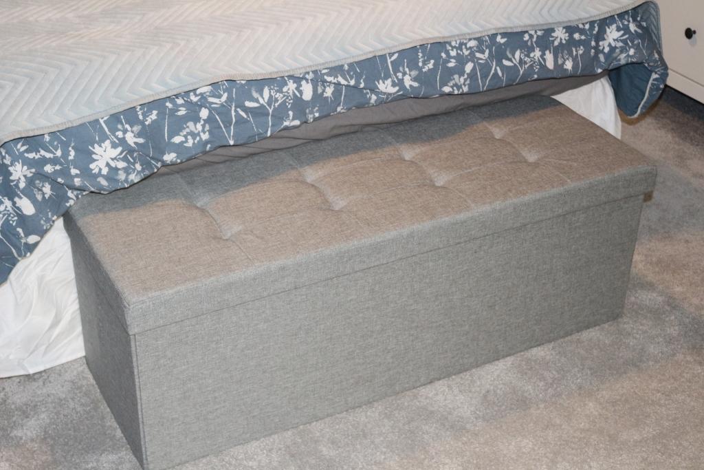 Songmics storage bench ottoman - grey bedroom toy storage (30)