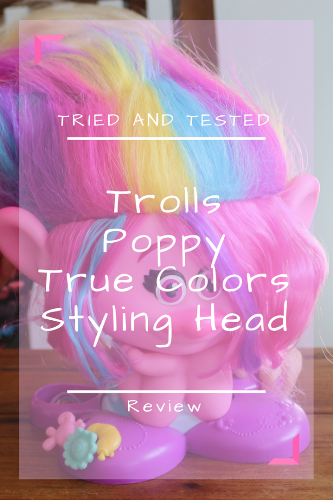Put your hair in the air! It's the Dreamworks Trolls Poppy True Colors Styling Head style station - this time Poppy's hair is multicoloured! A review for #StylingHeadMonth #Trolls #Poppy #Preschoolers #Hairdressing #PretendPlay
