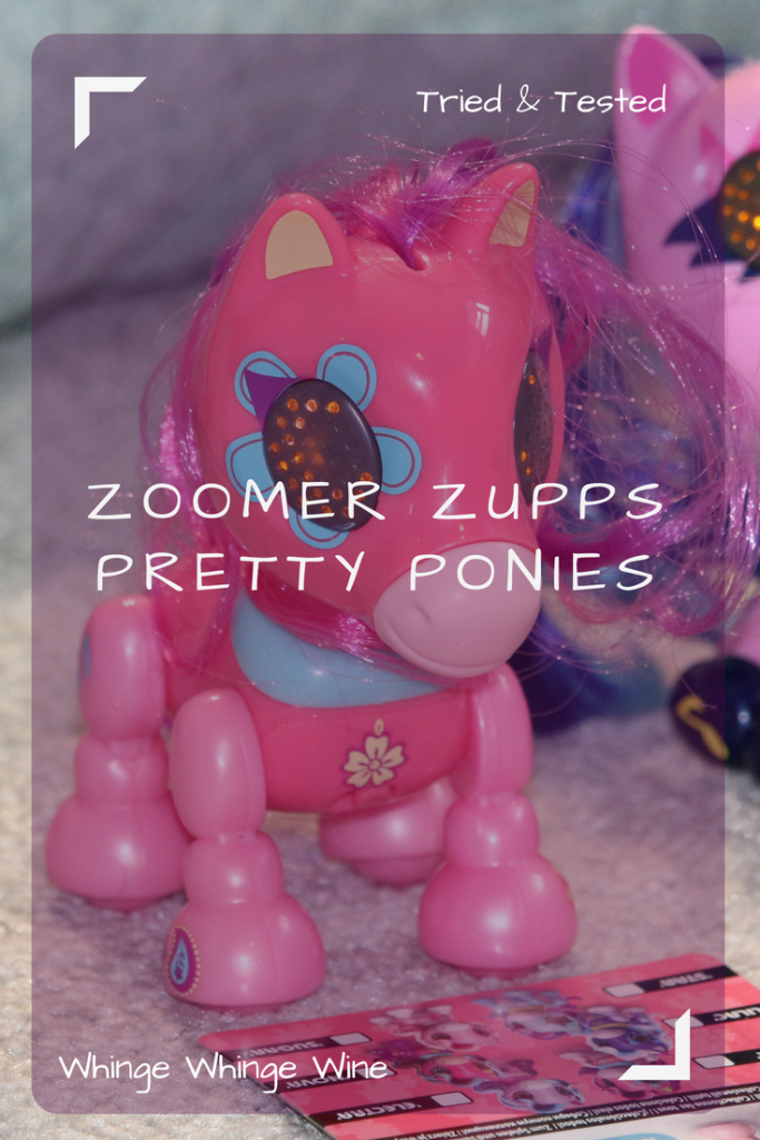 This week we've been playing with Zoomer Zupps Pretty Ponies; small, brightly coloured interactive horses. Spin Master's answer the recent trend for pocket money interactive toys, the pint-sized ponies are very cute. Learn how to do their secret trick! #ZoomerZupps #ponies #toys #toyreviews #mylittlepony