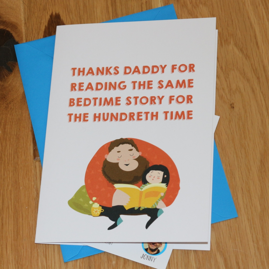 14. Love Layla funny rude and inappropriate greetings cards for Father's Day - Bedtime story