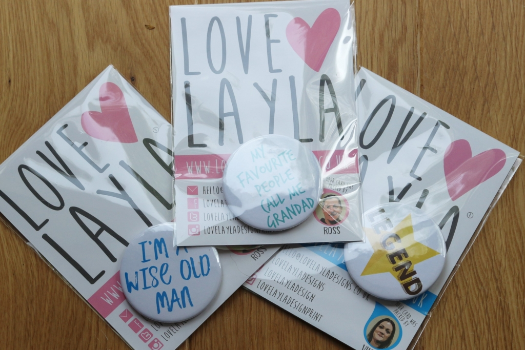 15. Love Layla funny rude and inappropriate greetings cards for Father's Day badges
