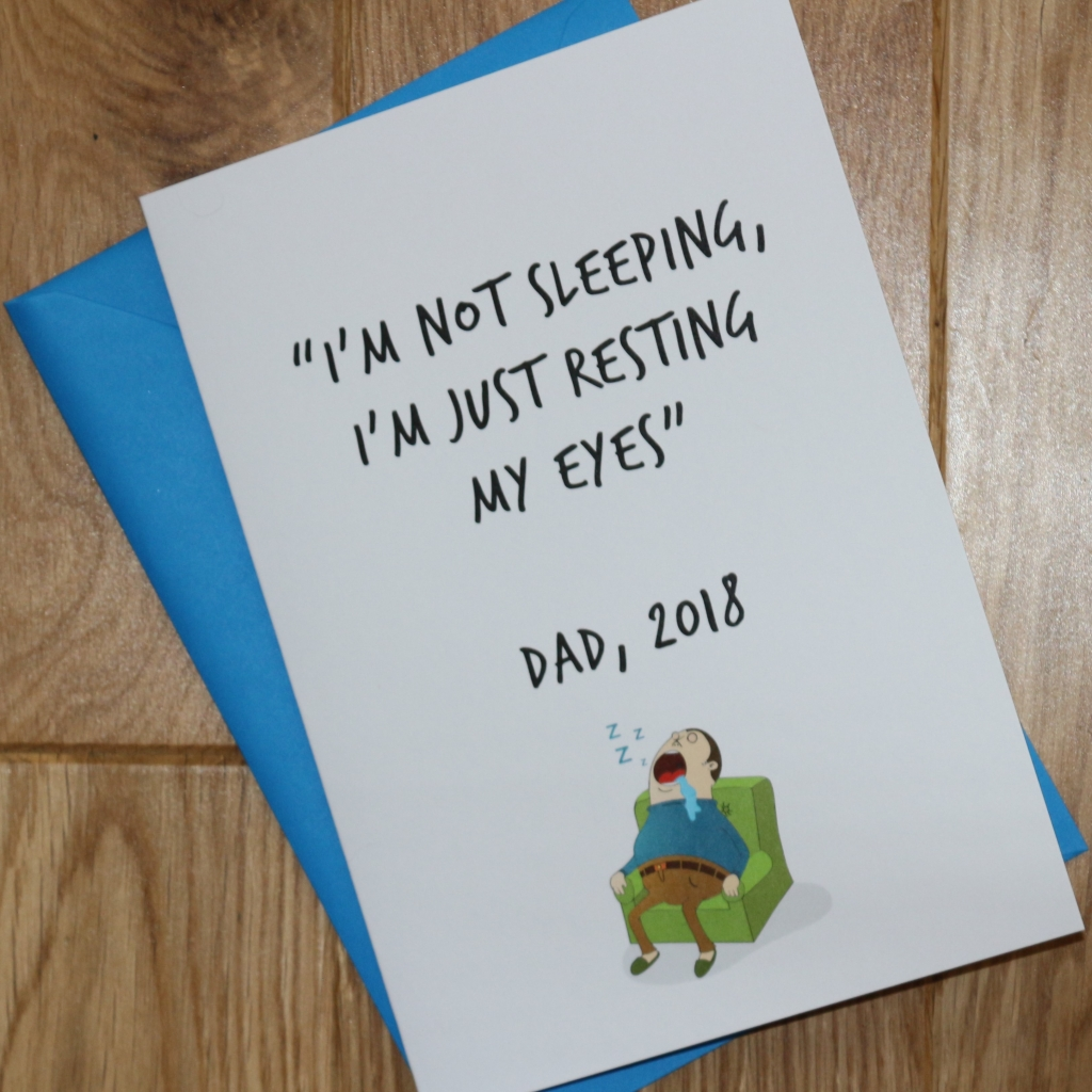 2. Love Layla funny rude and inappropriate greetings cards for Father's Day - Not sleeping just resting my eyes