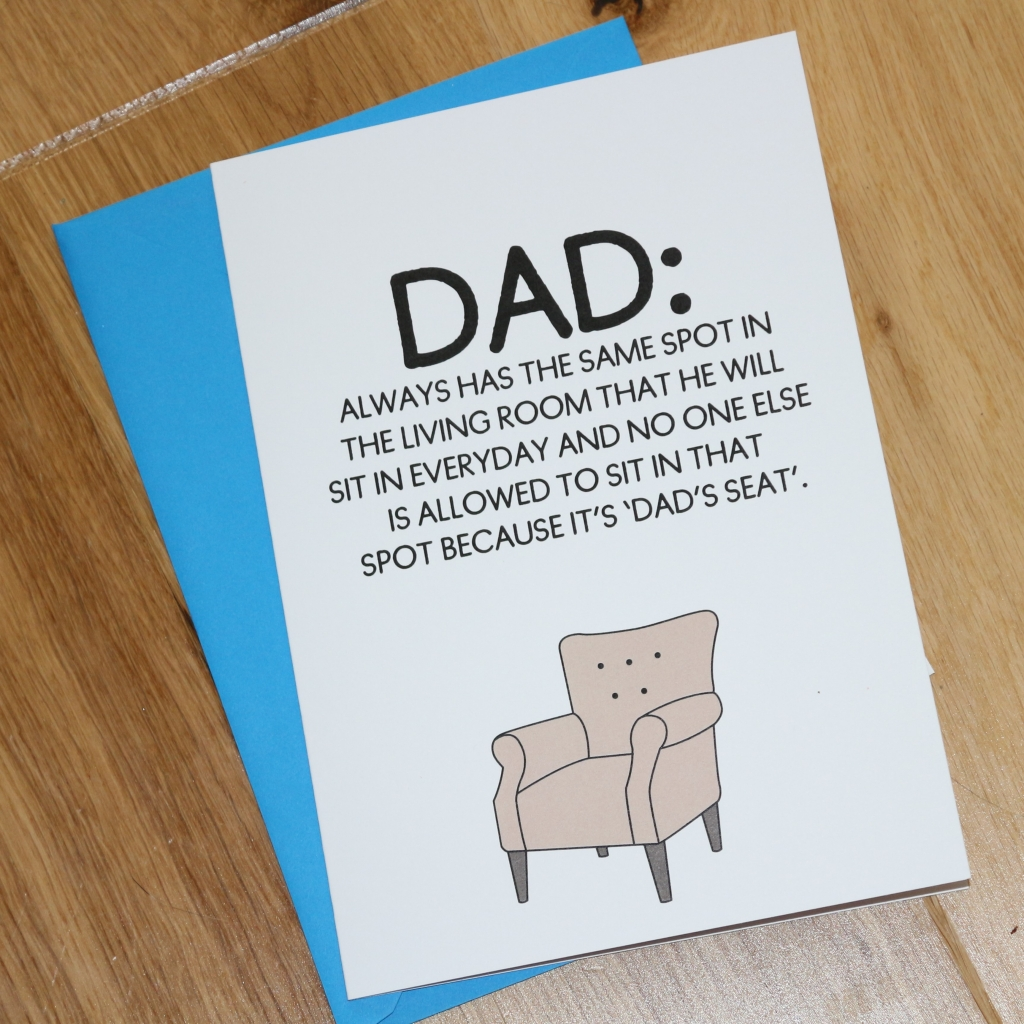 4. Love Layla funny rude and inappropriate greetings cards for Father's Day - dad's seat
