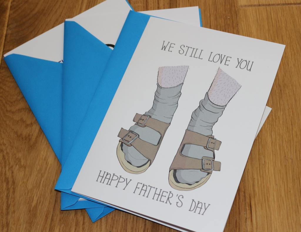5. Love Layla funny rude and inappropriate greetings cards for Father's Day socks and sandals