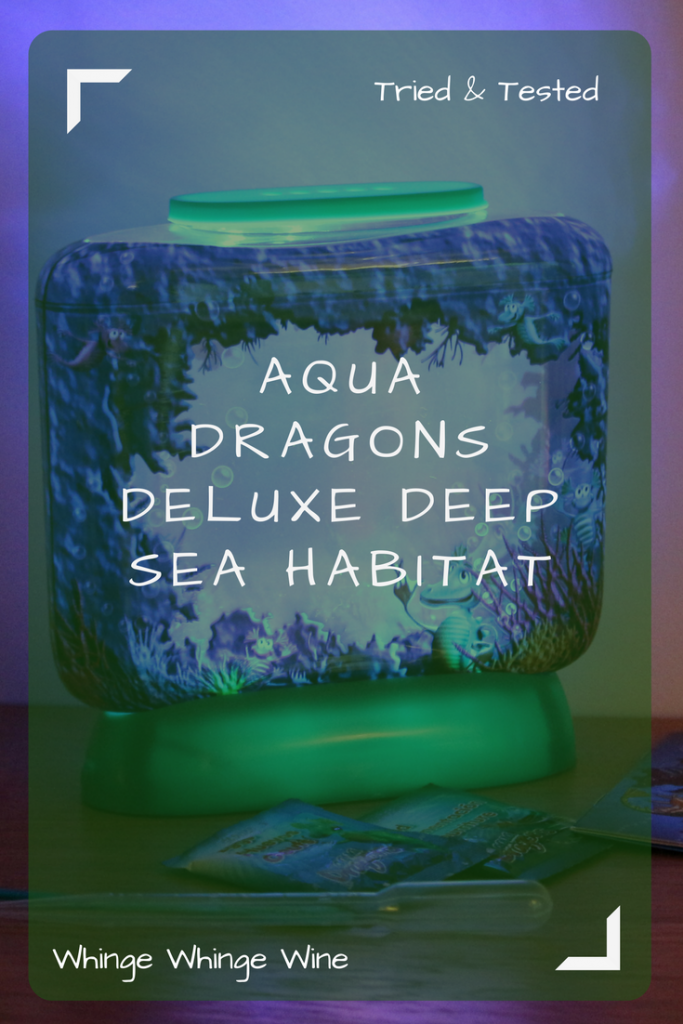 An alternative to Sea Monkeys, Aqua Dragons are little brine shrimps that you can hatch at home in a tank. The Aqua Dragons Deluxe Deep Sea Habitat with LED lights contains everything you need to grow and care for your own little artemia! #pets #seamonkeys #aquadragons #toys #toysforkids #review