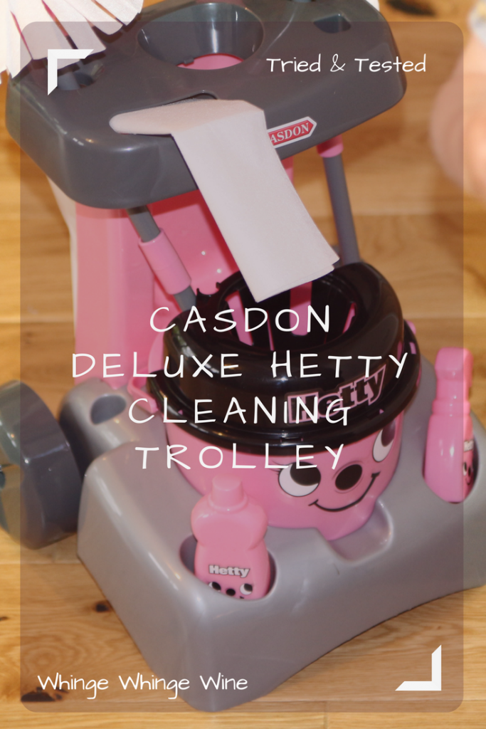 If your toddler or preschooler likes cleaning, encourage them with the Casdon Deluxe Hetty or Henry Cleaning Trolley in pink or red! Read our review of the pink Hetty Little Helper cleaning trolley. #imaginativeplay #pretendplay #reviews #toyreviews #preschoolertoys #justlikemom
