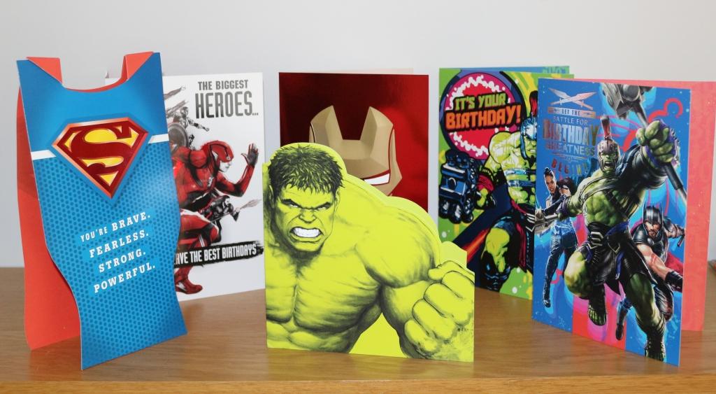 Superhero cards from Hallmark