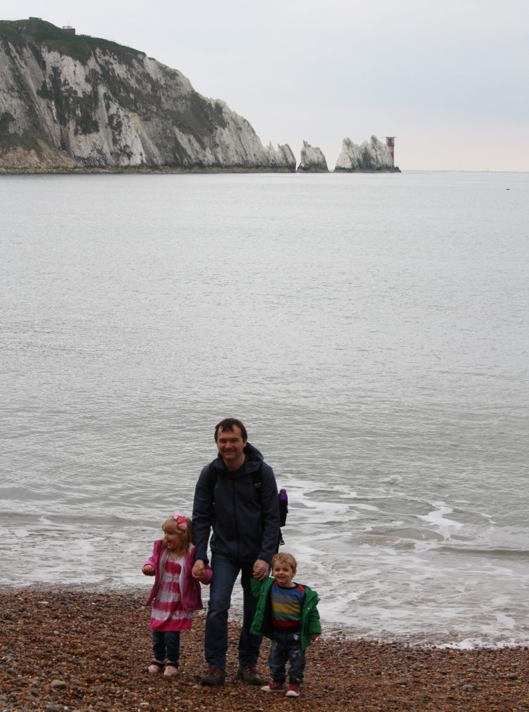 The family at the Needles, Alum Bay, Isle of Wight
