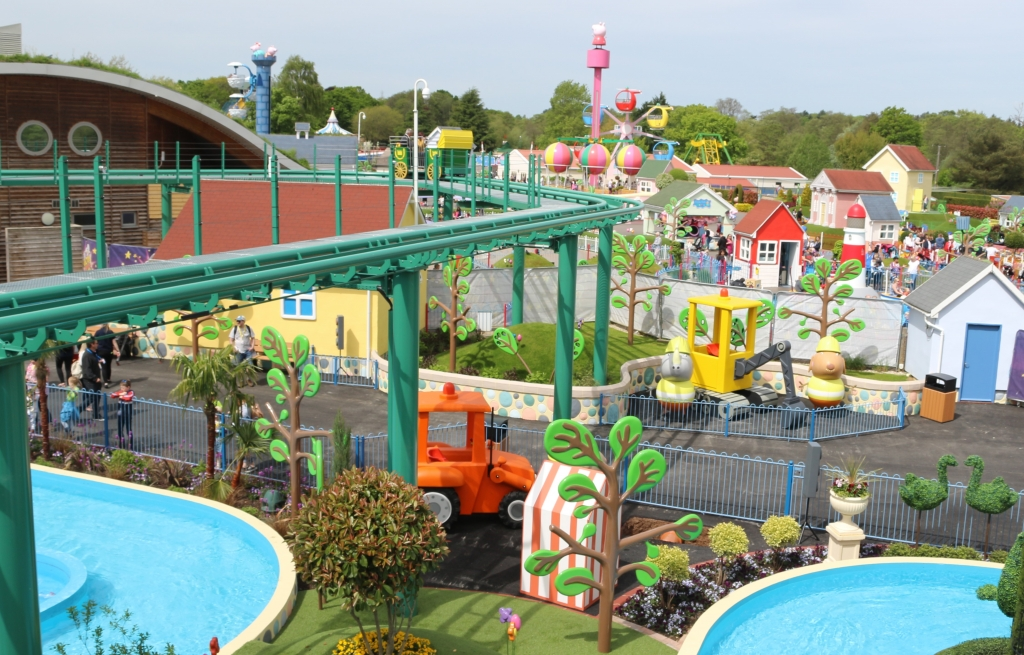 Peppa Pig World - new rides Grampy Rabbit's Sailing Club and view of the park