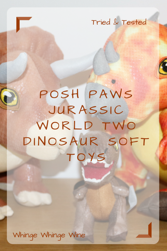 Posh Paws Jurassic World two Fallen Kingdom range of cuddly Dinosaur plush soft toys including the Stygimoloch, Triceratops and T-rex from the latest Jurassic Park film, suitable for children aged 2+ #toyreviews #softtoys #dinosaurtoys #dinosaurs #dinos