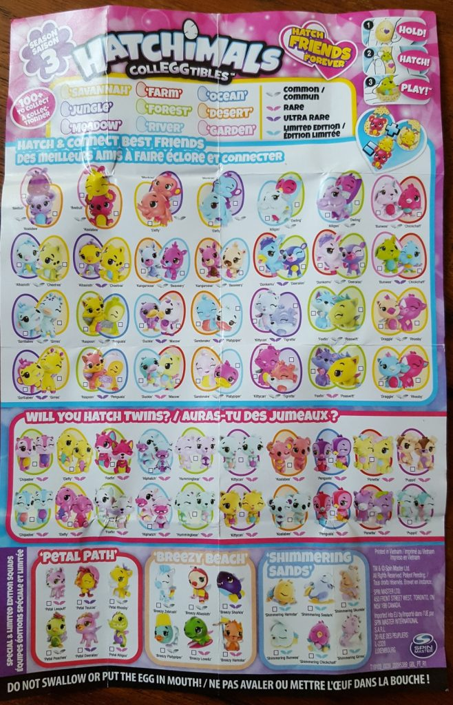 Season 3 Hatchimals CollEGGtibles Collector's map character list checklist