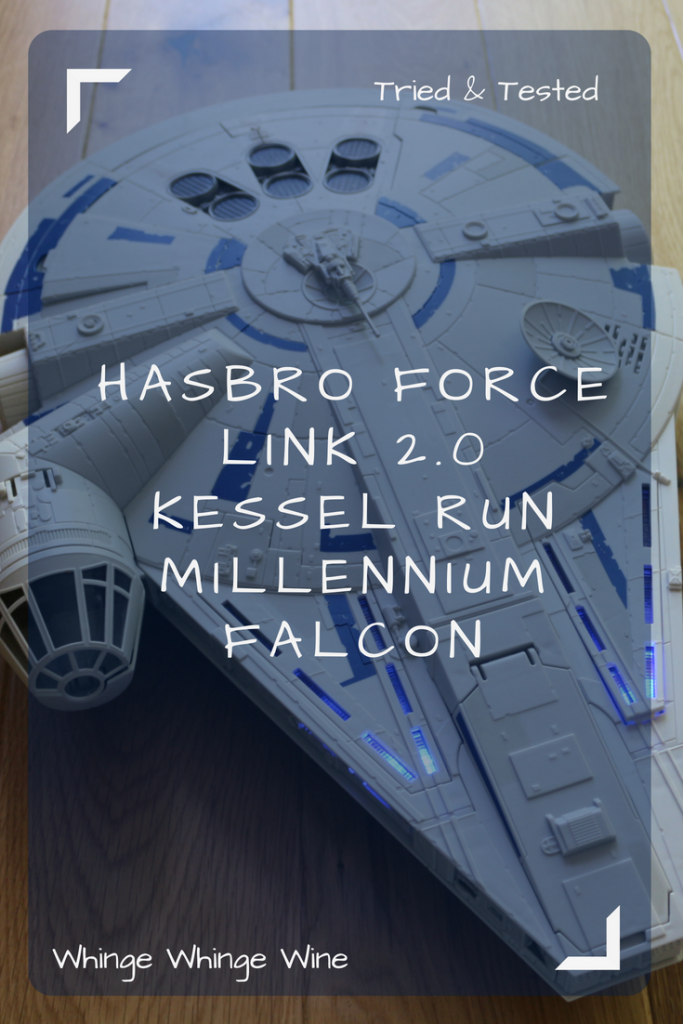 The new Hasbro Kessel Run Millennium Falcon with Force Link 2.0 Han Solo figure - makes sounds, vibrates and shakes and light up! A review of the newest Hasbro Star Wars Toys #Hasbro #StarWars #StarWarsToys #MillenniumFalcon #Solo #HanSolo #TriedandTested #HasbroToyTribe