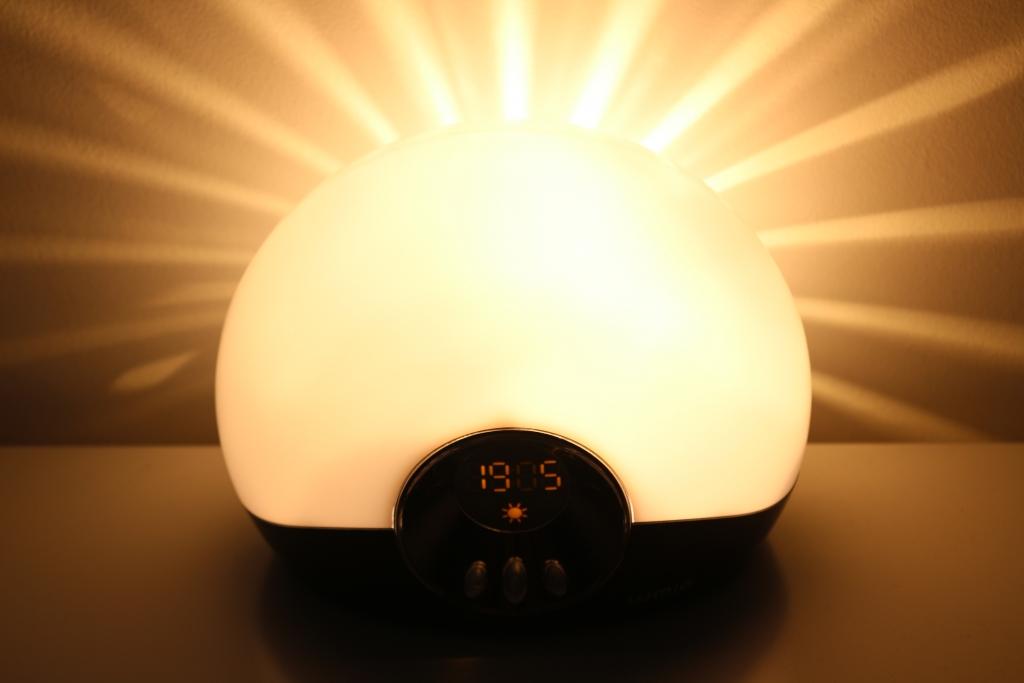 Lumie Bodyclock Go 75 natural sunrise light up alarm clock with sounds