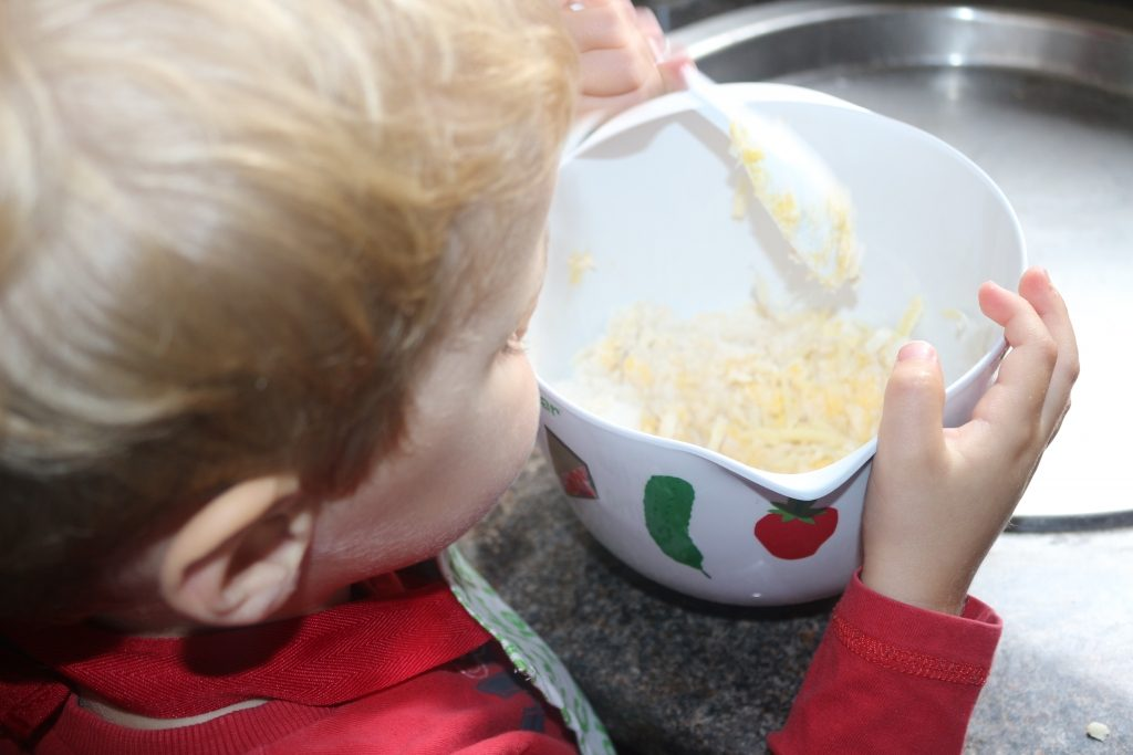 Mixing the really easy cheesy biscuits kids recipe - cheese biscuit recipe
