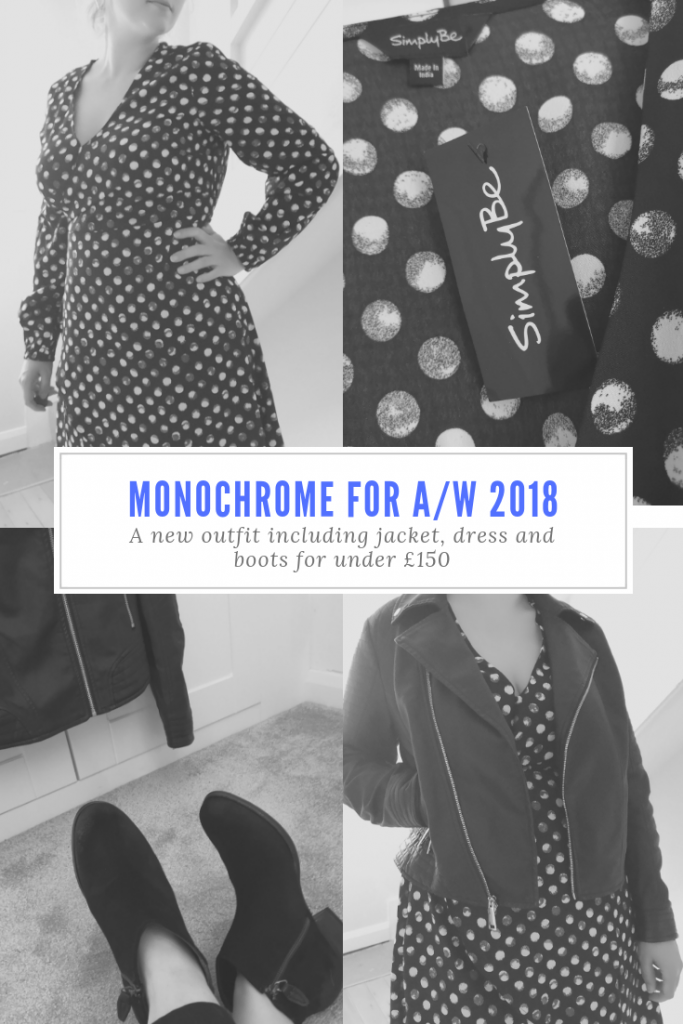 A new autumn/winter monochrome outfit on a budget from Fashion World; a jacket, boots and dress for under £150. Plus size fashion for AW 2018. #womensfashion #plussizefashion #AW2018