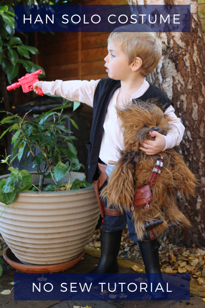 Han Solo children's halloween costume tutorial An easy step by step no-sew Star Wars A New Hope Han Solo outfit which takes under an hour to make! #HanSolo #Solo #ChildrensCostumes #HalloweenCostume #StarWars