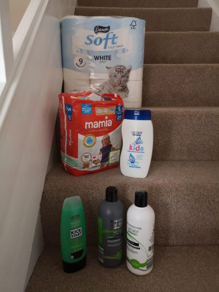 Toilet roll: £2.09 for 9 rolls Pull ups: £2.04 for 20 Kids' shower gel: 89p Shower gel: 55p Shampoo and conditioner: 99p each ALDI TONBRIDGE