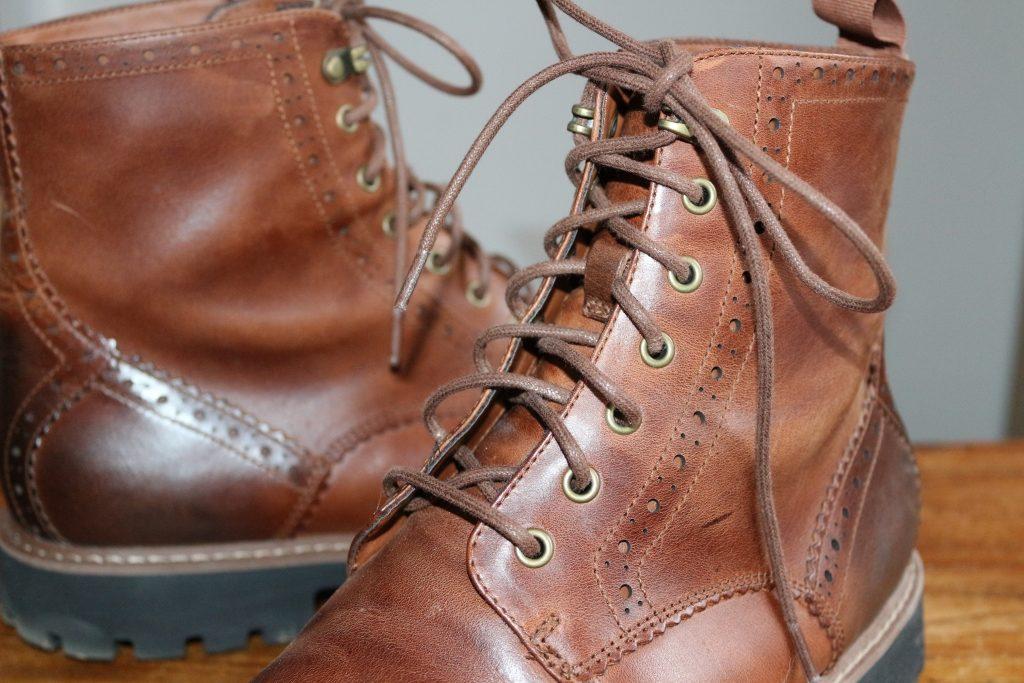 Clarks dark tan brogue boots